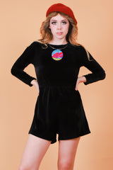 Vintage 1970's Walk on the Wild Side Velvet Romper