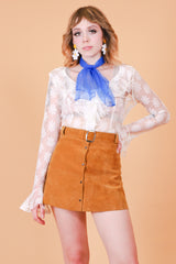Vintage 1970's Brown Sugar Suede Mini-Skirt
