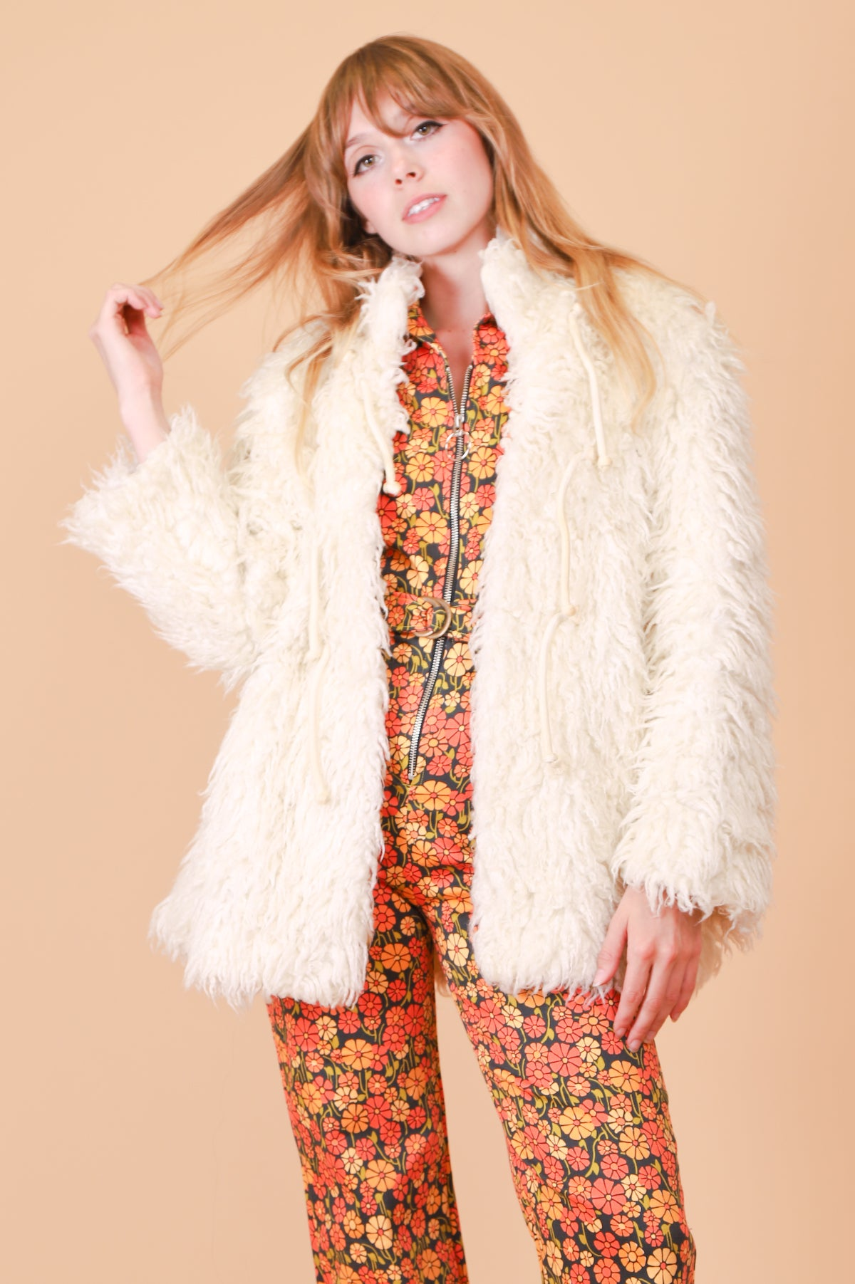 Vintage 1970's Jagger Cream Vegan Fur Coat