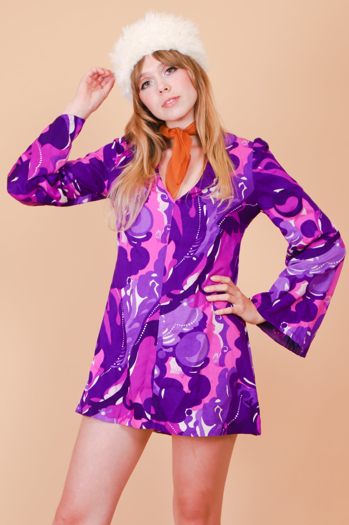 Vintage 1960's Violet Bubblegum Mini-Dress