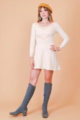 Vintage 1960's Jane Asher Cream Knit Mini-Dress