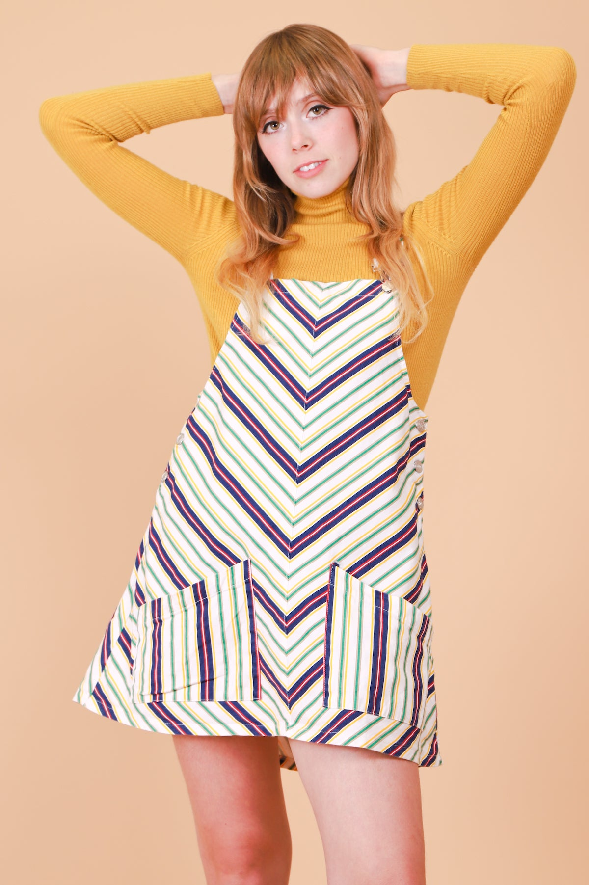 Vintage 1970's Calico Stripe Pinafore Mini-Dress