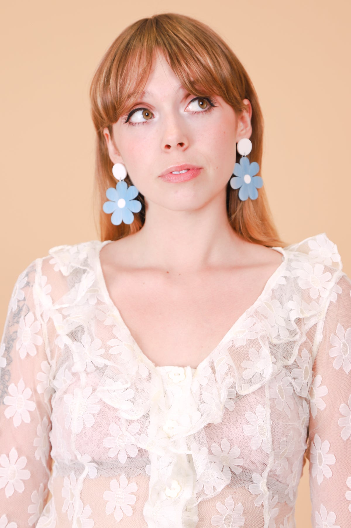 Daisy Earrings in Powder Blue Full