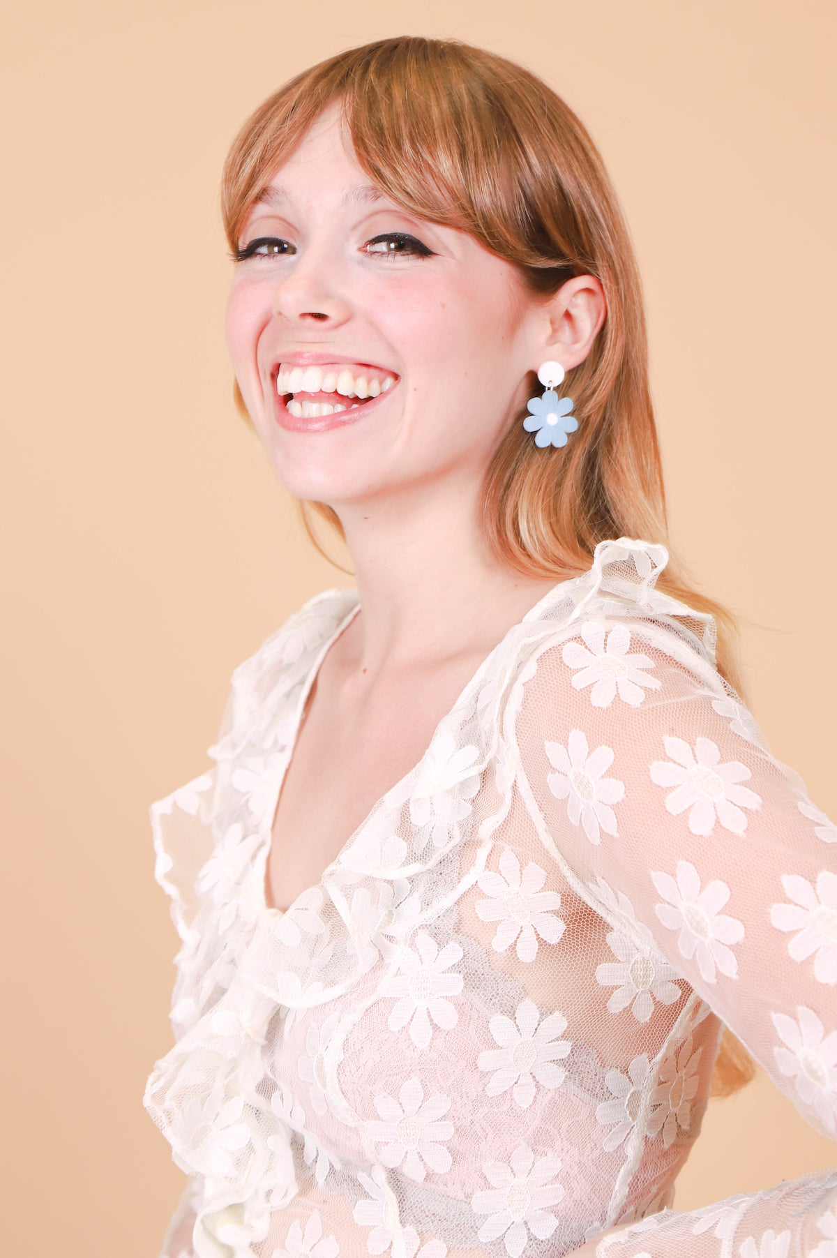 Daisy Earrings in Powder Blue Mini