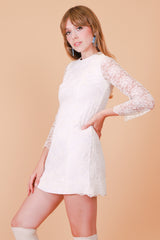 Vintage 1970's Mother of Pearl Lace Mini-Dress