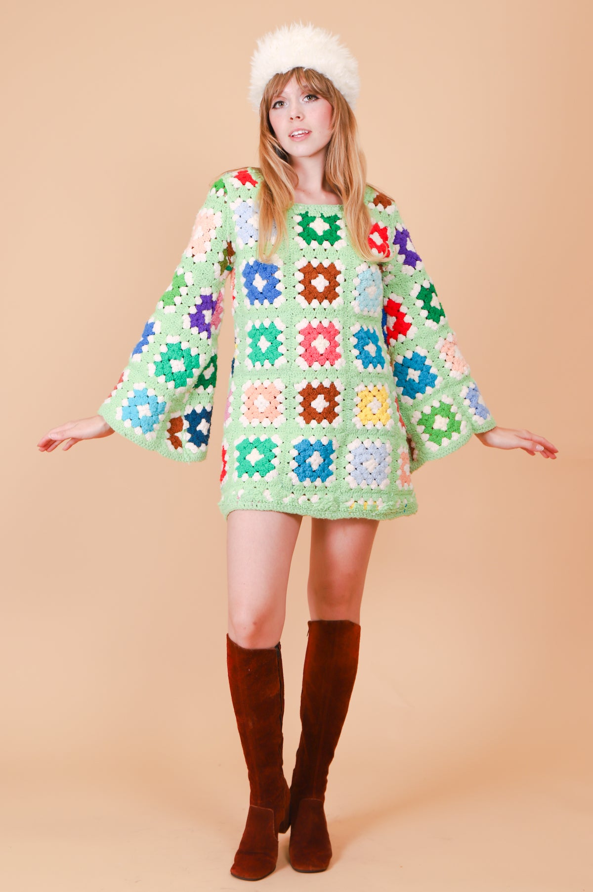Vintage 1970's Mint Dream Crochet Mini-Dress