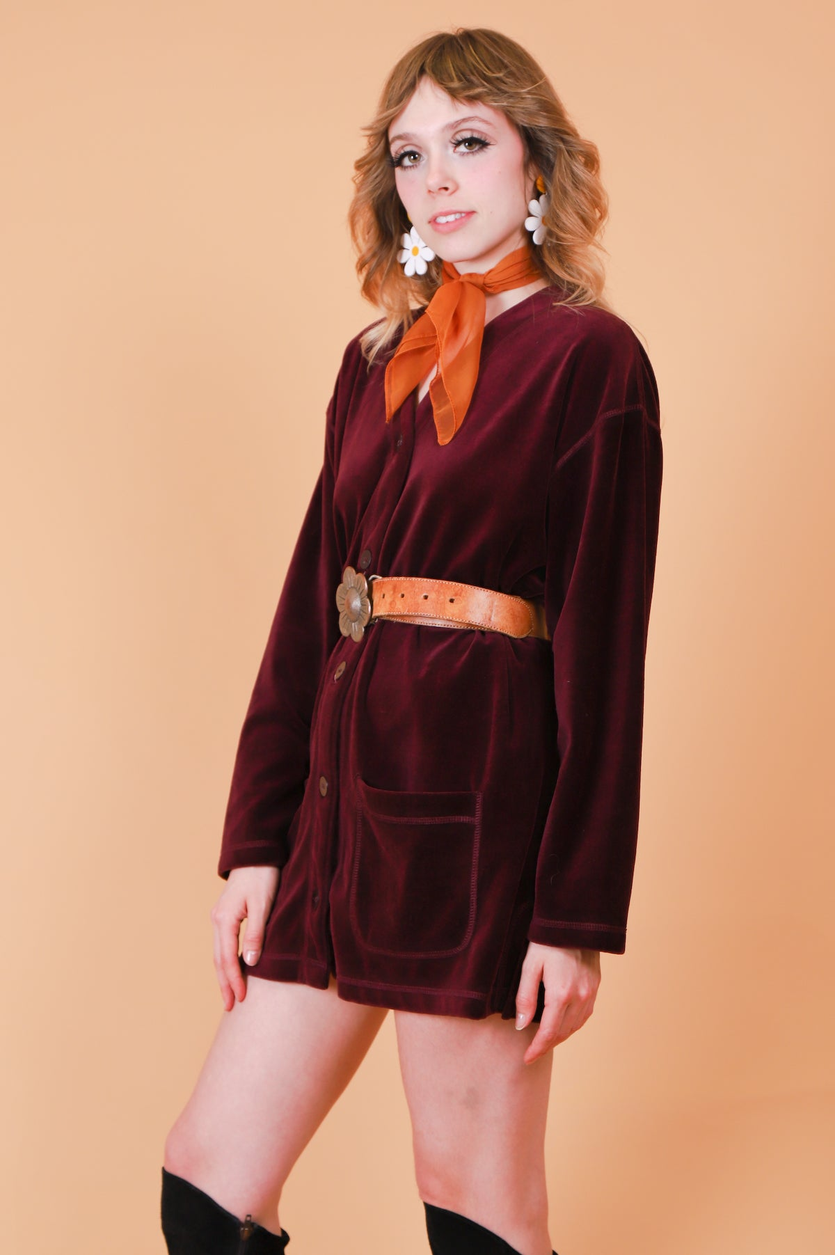 Vintage 1990's Lola Maroon Velvet Mini-Dress