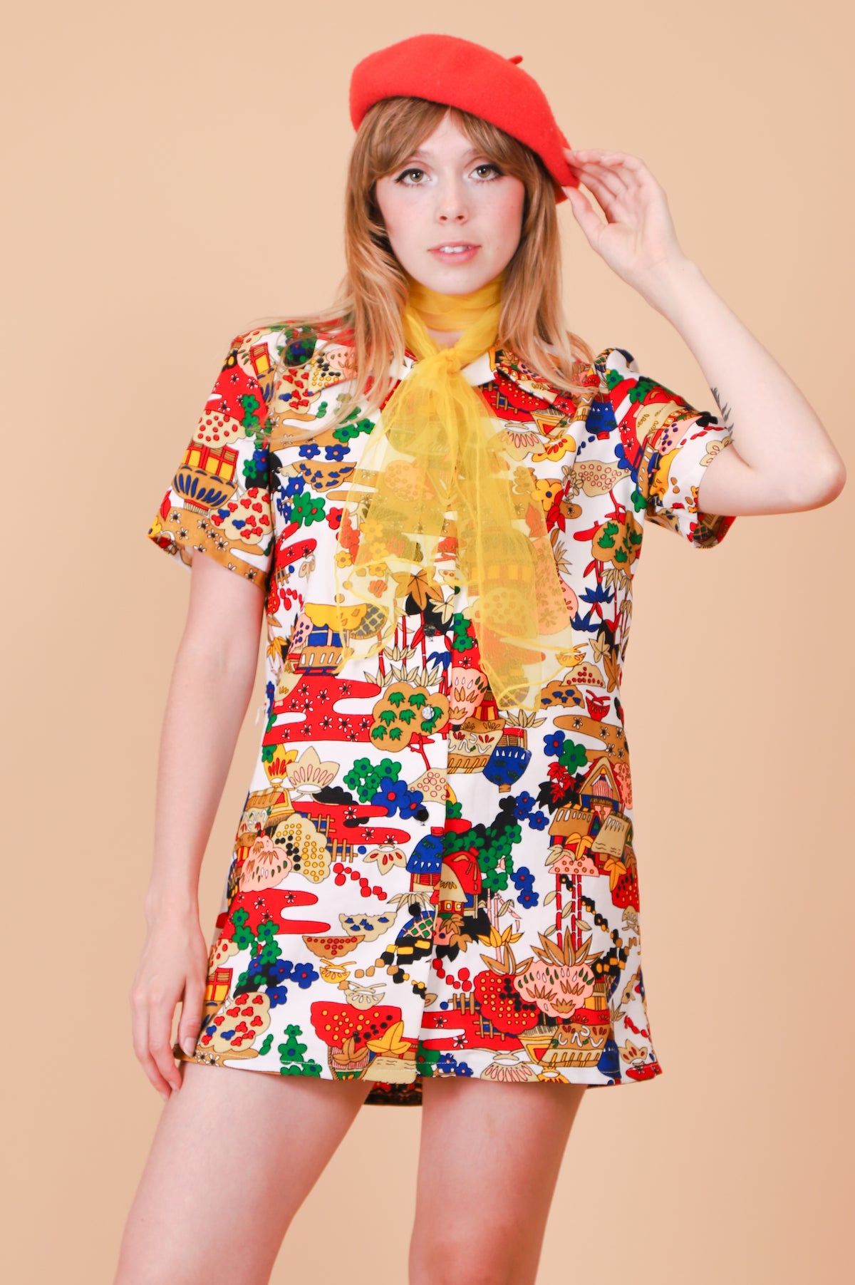 Vintage 1960's Psychedelic Garden Mini-Dress