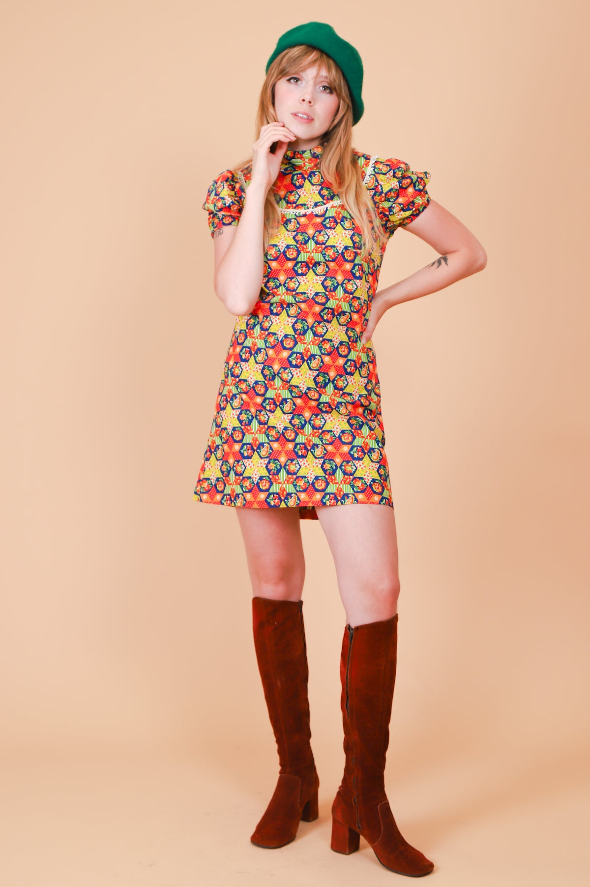 Vintage 1970's Kaleidoscope Puzzle Mini-Dress