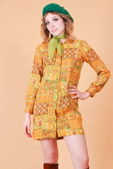 Vintage 1970's Garden of Earthly Delights Mini-Dress