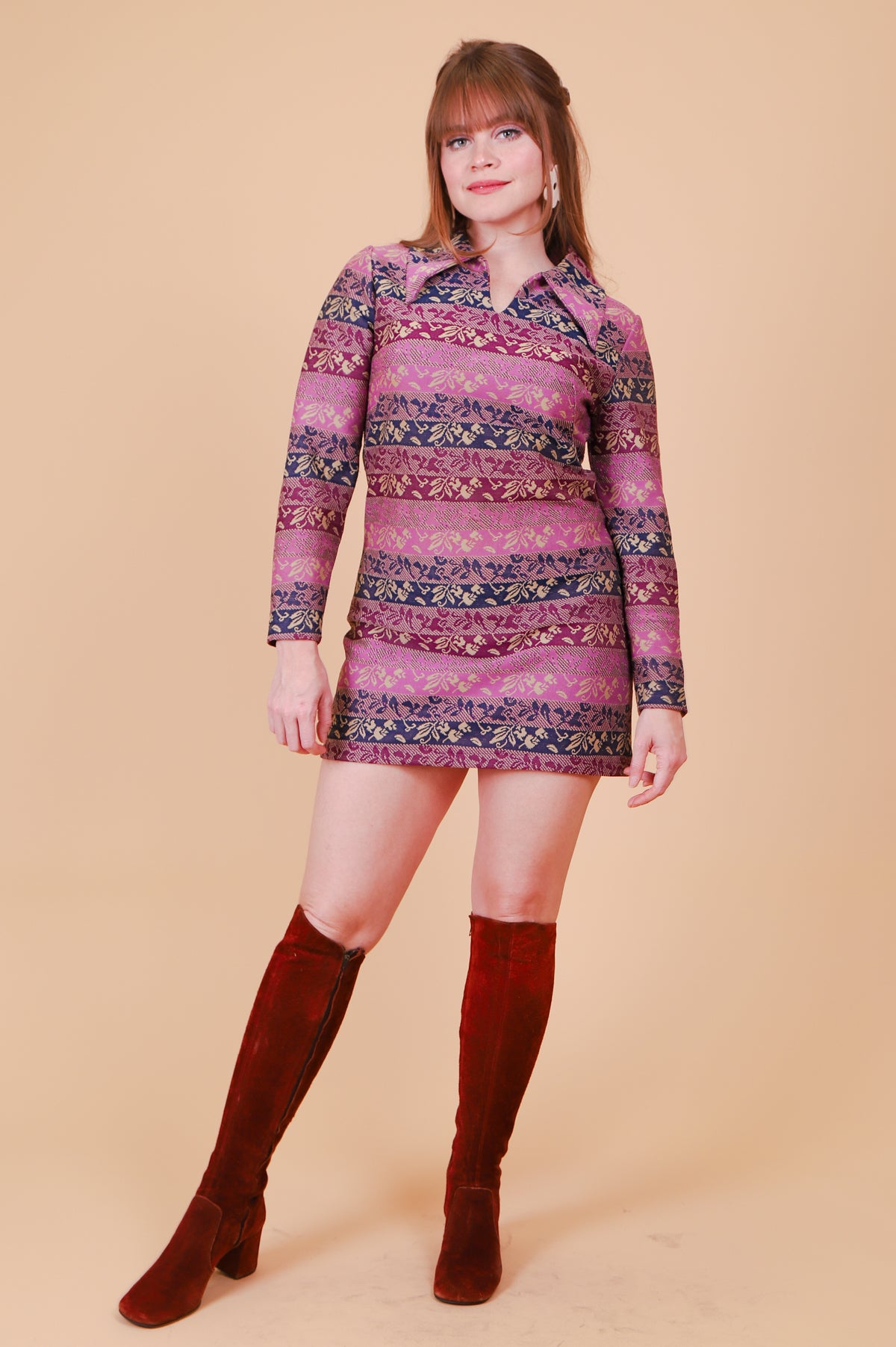 Vintage 1970's Odyssey and Oracle Violet Mini-Dress