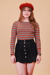 Vintage Rust Stripe Long-Sleeve Top