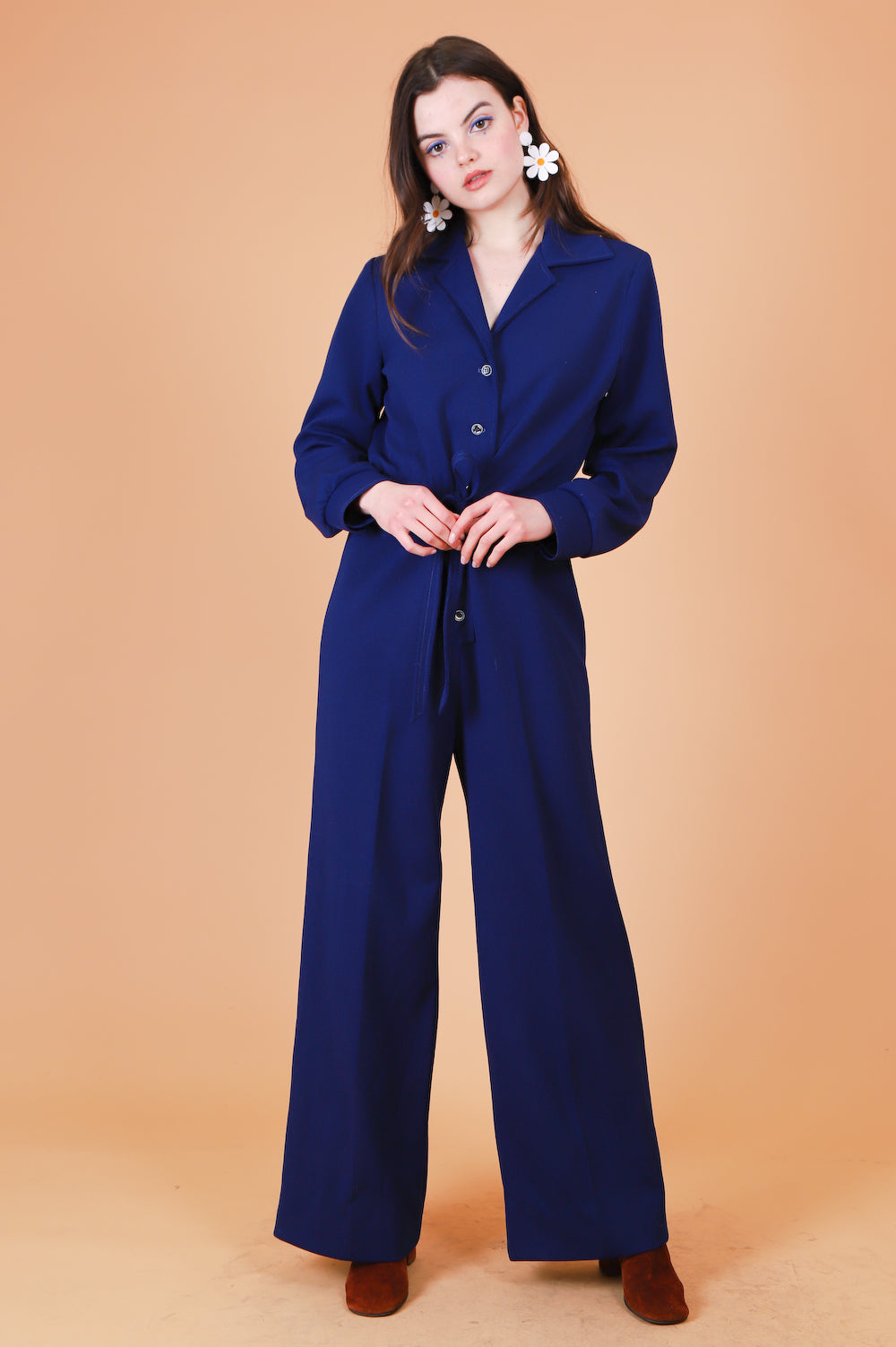 Vintage 1970's Heather Honey Navy Jumpsuit