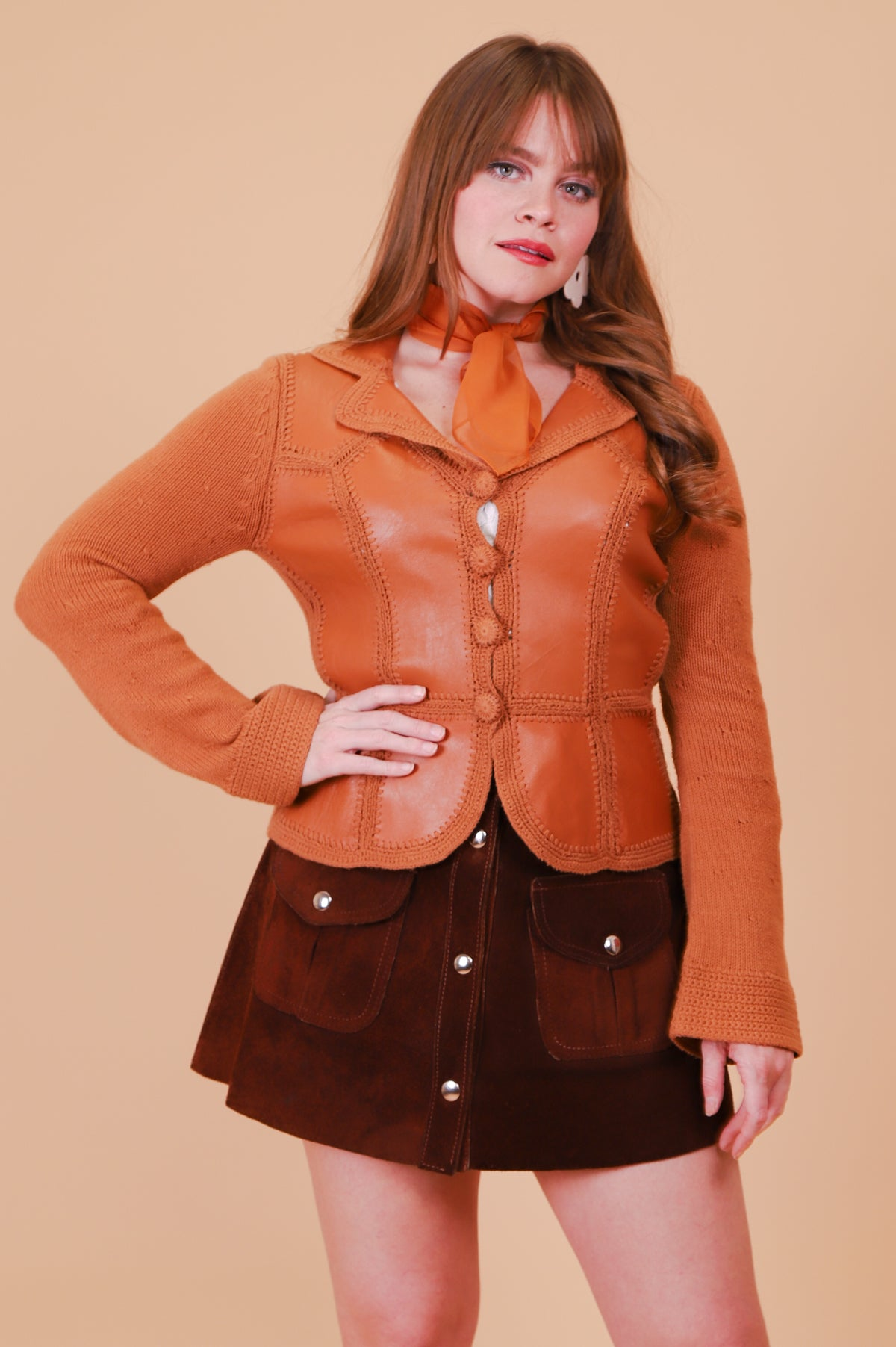 Vintage 1970's Joni Caramel Knit Leather Jacket