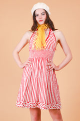 Vintage 1970's Candy Cane Lane Mini-Dress