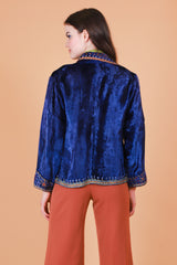 Vintage 1970's Electric Blue Embroidered Velvet Jacket