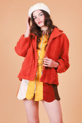 Vintage 1990's Burnt Orange Fuzzy Coat