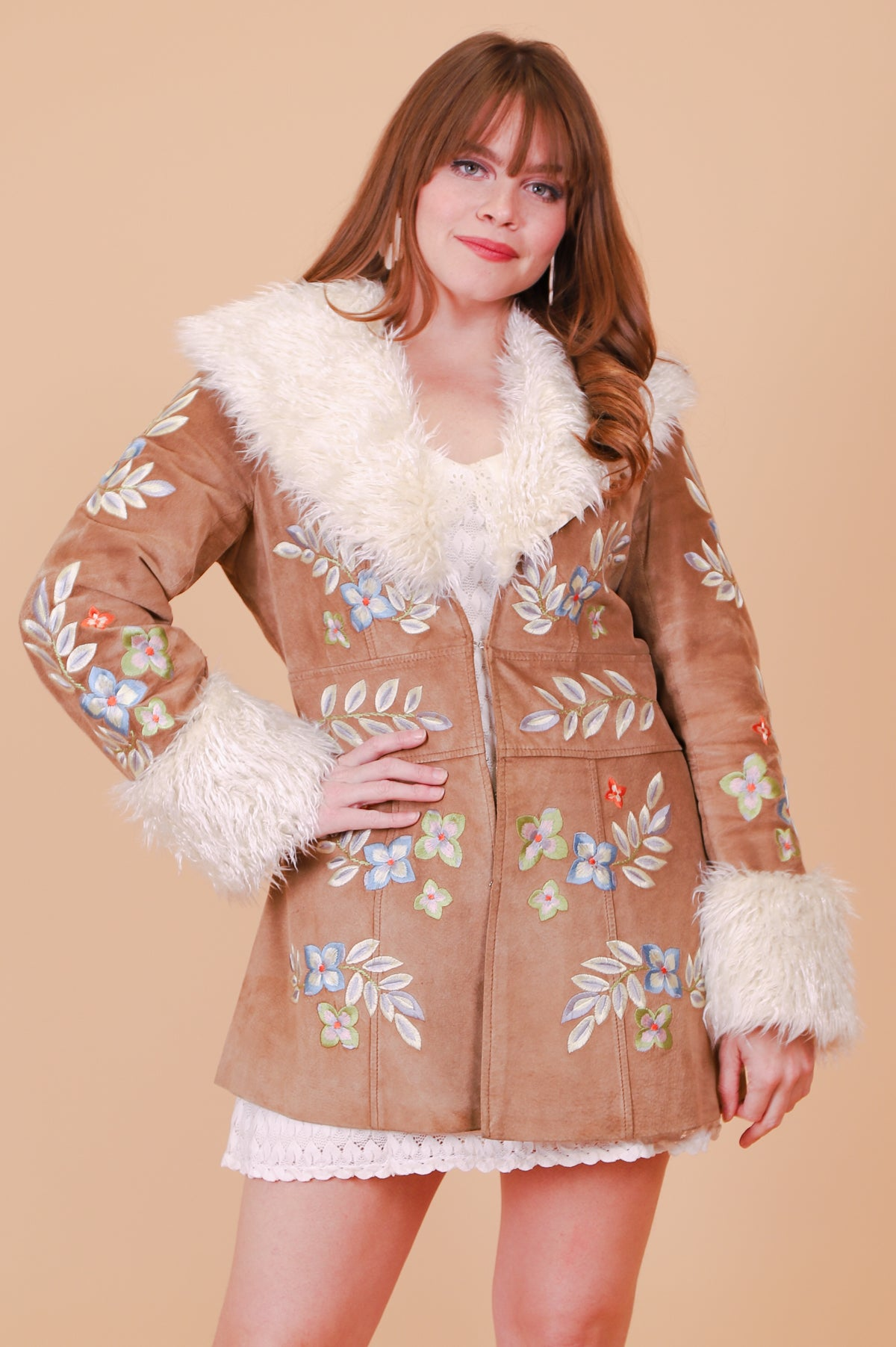 Vintage 1970's Pamela Embroidered Vegan Suede Fur Coat