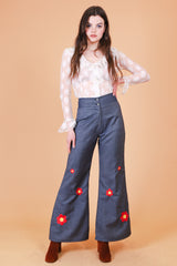 Vintage 1970's Daisy Haze Embroidered Denim Bells