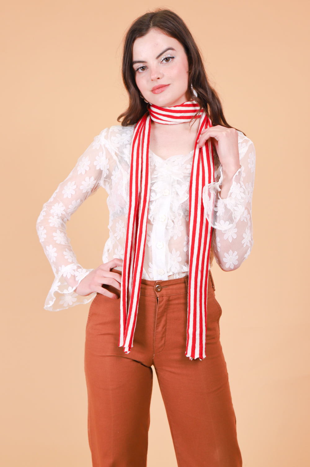 Vintage 1970's Candy Cane Lane Scarf
