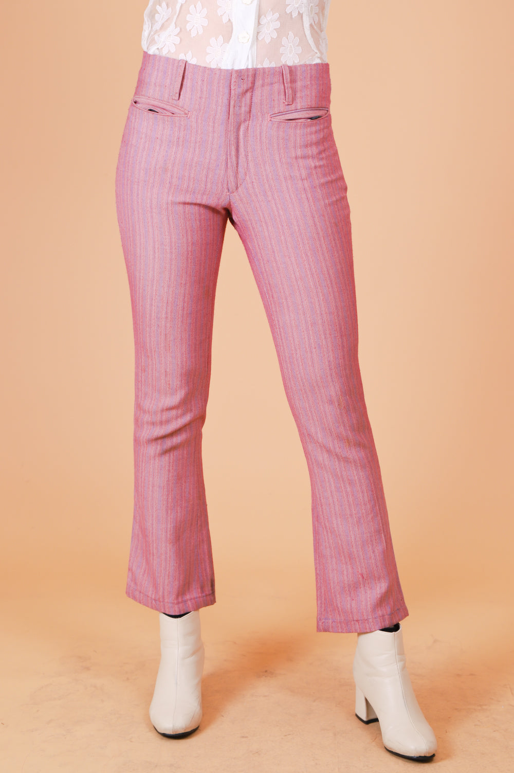 Vintage 1970's Strawberries and Cream Stripe Pants