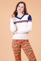 Vintage 1970's Over The Rainbow Stripe Sweater