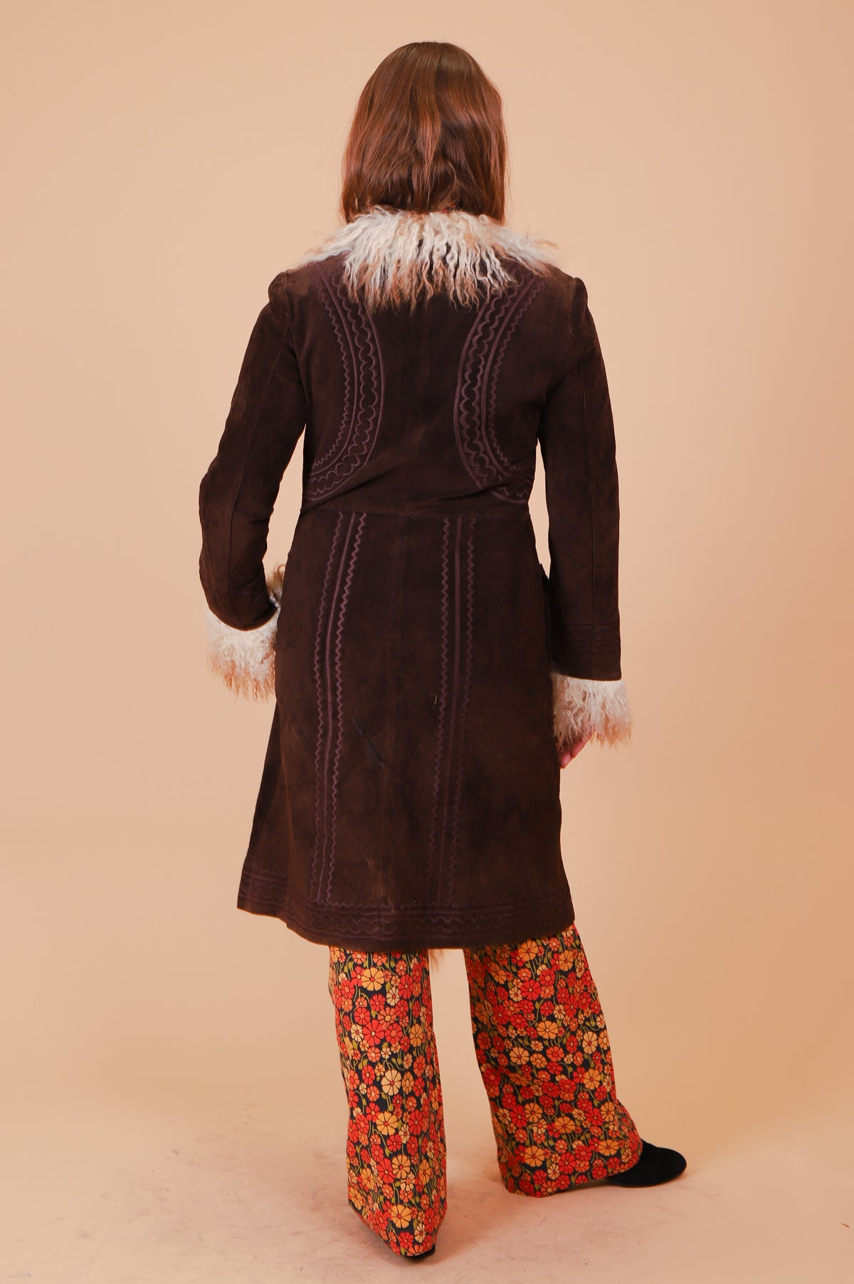 Vintage 1970's Jagger Embroidered Chocolate Suede Fur Coat