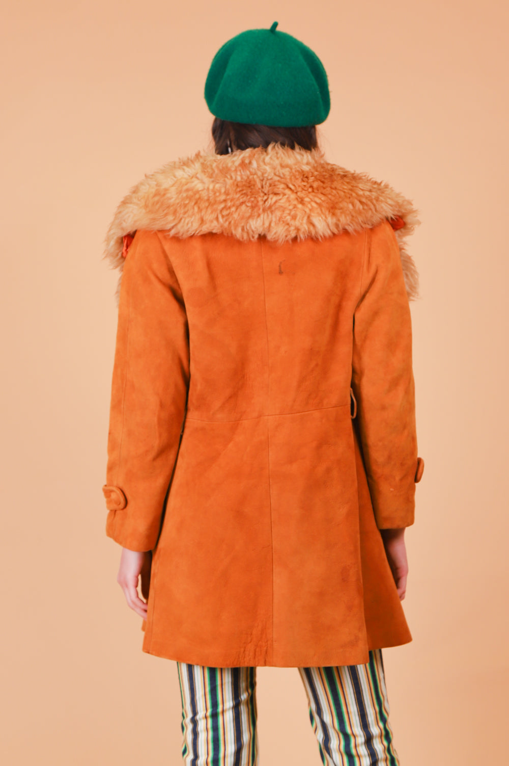 Vintage 1970's Sister Golden Hair Suede Fur Coat