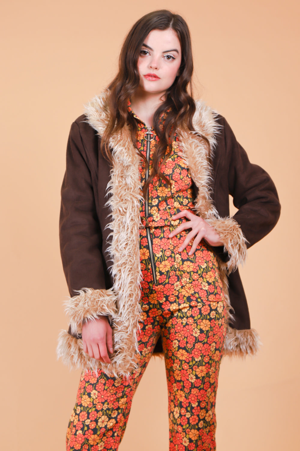 Vintage Almost Famous Chocolate Vegan Coat