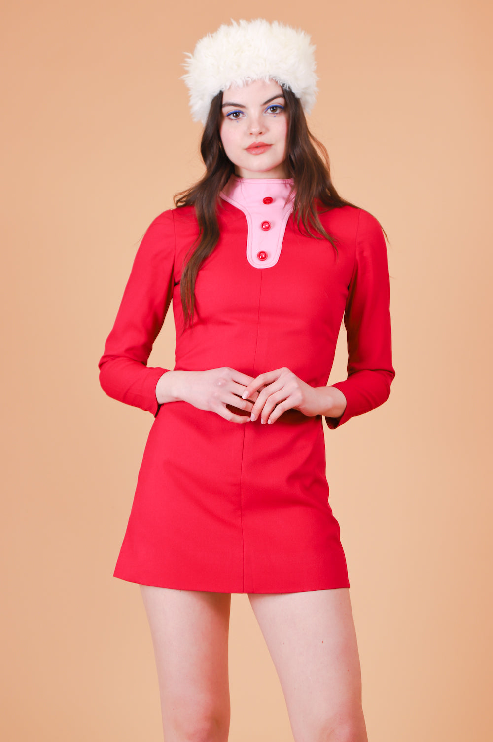 Vintage 1960's Raspberry Swirl Mini-Dress