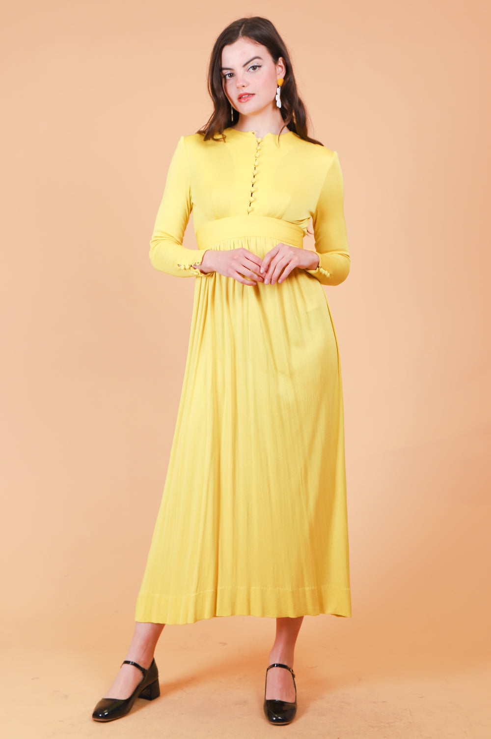 Vintage 1960's Lemon Tart Maxi-Dress