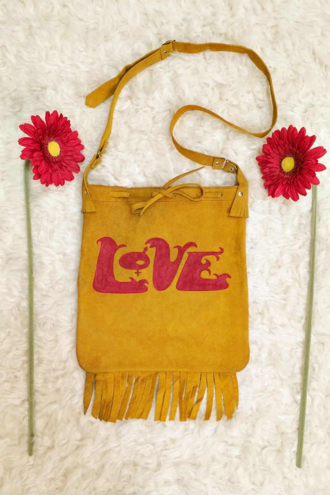 Vintage Hand-Painted LOVE Suede Bag