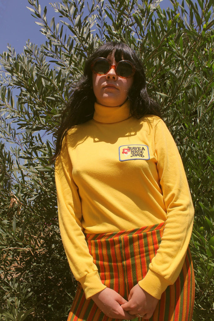 Vintage Have a Nice Day Yellow Turtleneck