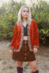 Marrakesh Express Embroidered Velvet Jacket in Peach