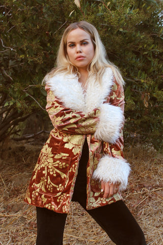 Penny Lane Vegan Fur Coat in Rose Gold