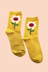 Flower Socks in Mustard