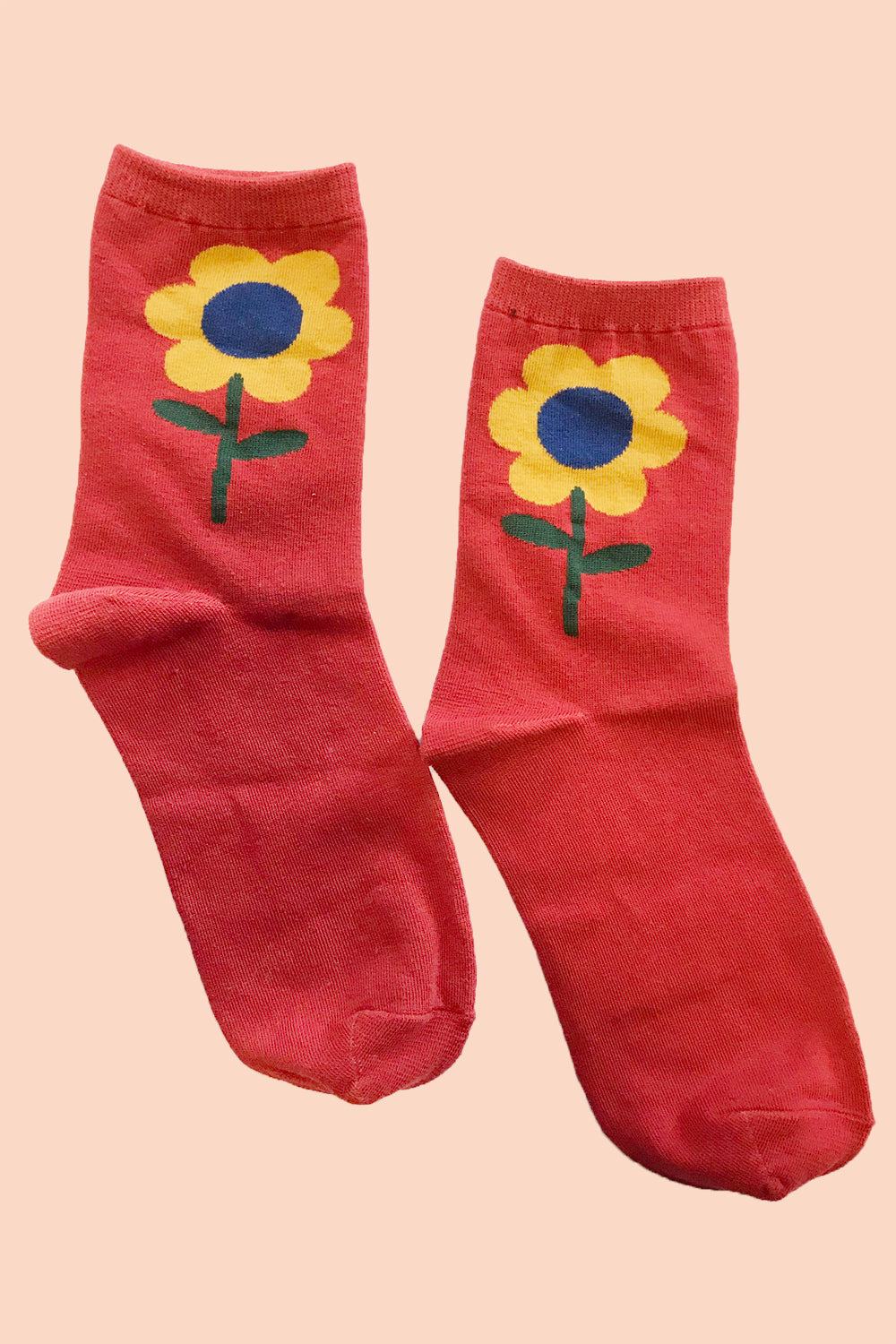 Flower Socks in Cherry