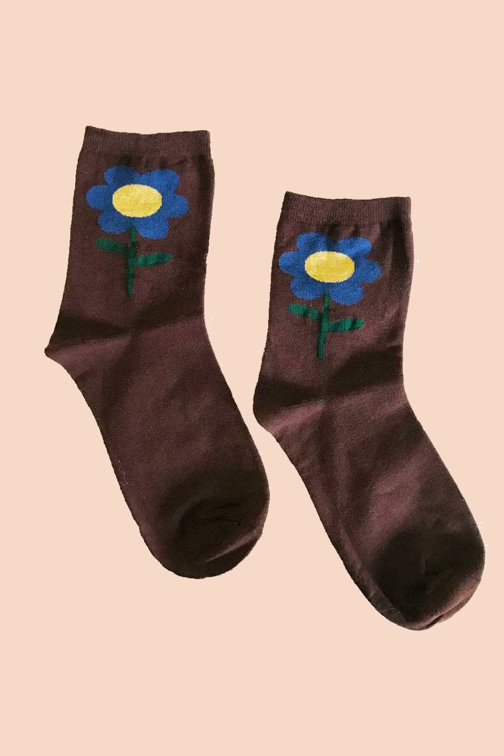 Flower Socks in Chocolate