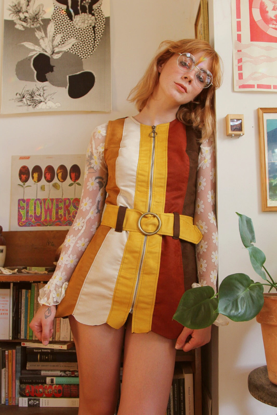 Marigold Faire Suede Mini-Dress