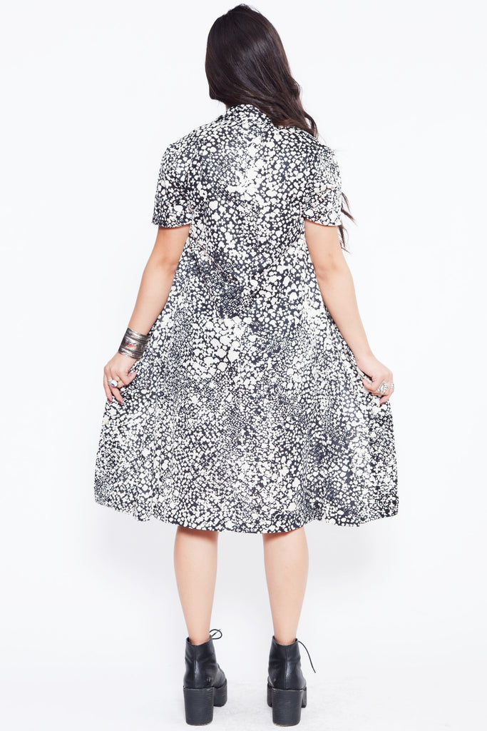 Vintage Black and White Splatter Dress