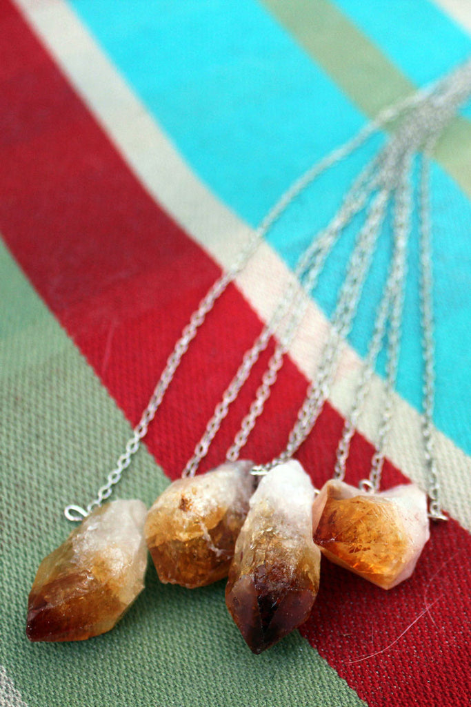 Orange Raw Citrine Necklace