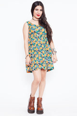 Vintage 90s Sunflower Skater Dress