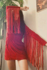 Heartbreaker Fringe Velvet Dress in Rust