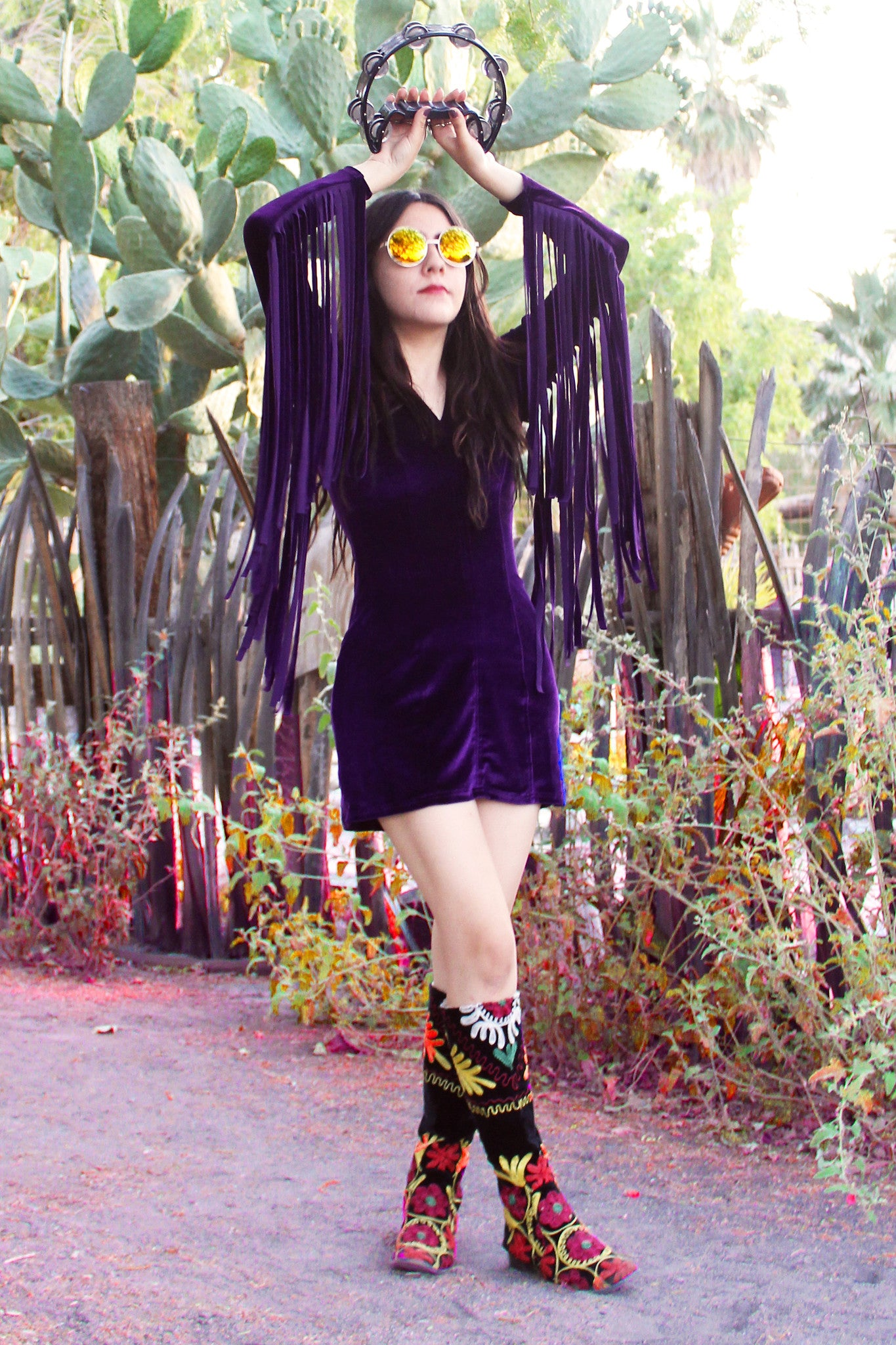 Heartbreaker Fringe Velvet Dress in Plum