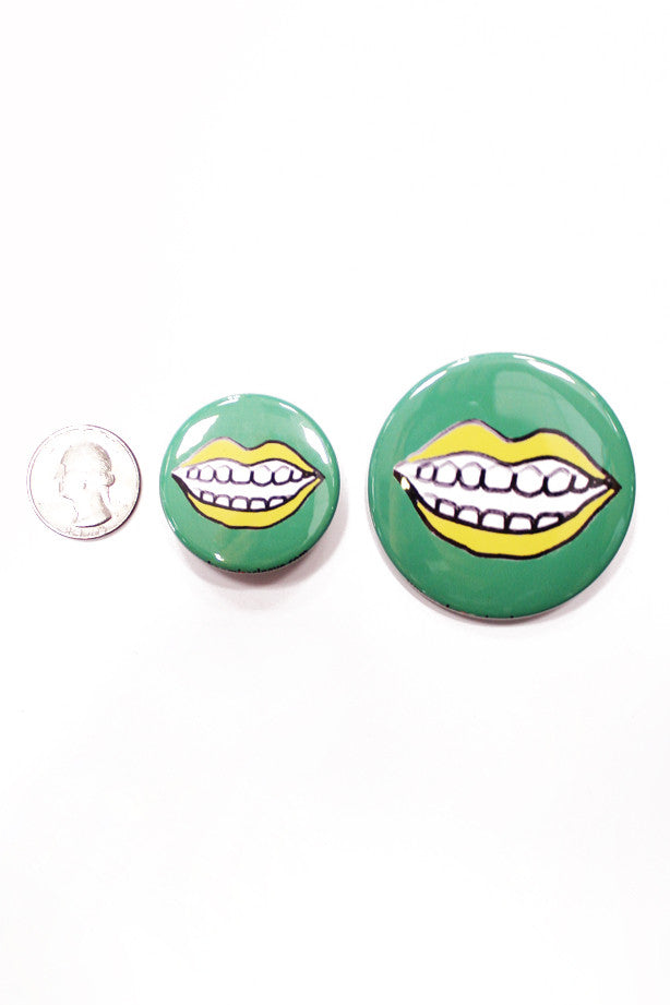 Say Cheese Button in Green