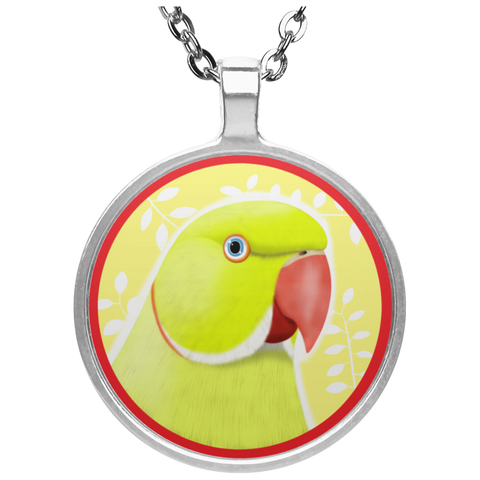 Indian Ringneck Parrot Circle Necklace (Yellow Lutino)