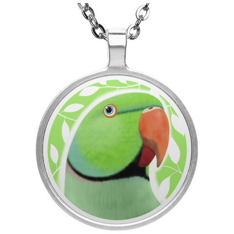 Indian Ringneck Parrot Circle Necklace (Green)