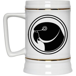 Indian Ringneck Parrot (Black Design) Beer Stein 22oz.