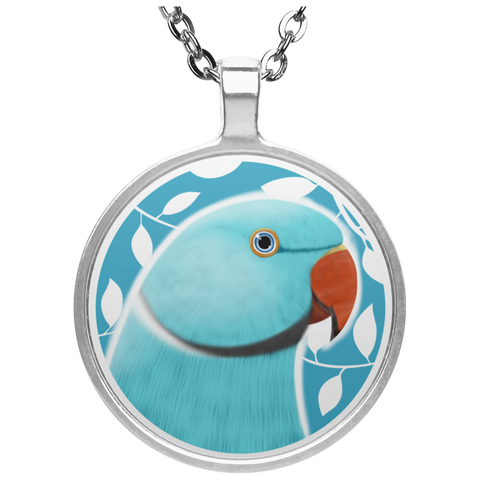 Indian Ringneck Parrot Circle Necklace (Blue)