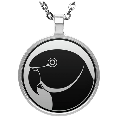 Indian Ringneck Parrot (Black Design) Circle Necklace